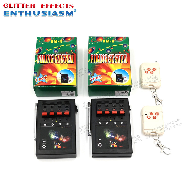 2pcs/lot AM04R Remote Control 4 Channel 8 Cue And Two Receivers Stage Effects Wedding Light Machine