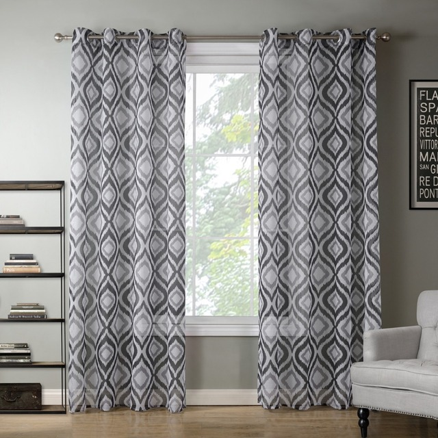 High Quality Printed Blue Grey Geometric Curtains For Flat Windows Chinese Cheap Curtain 1Piece Free