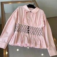 Повседневная Блузка женская с длинным рукавом Розовые полосатые рубашки 2019 весна лето женские хлопковые рубашки