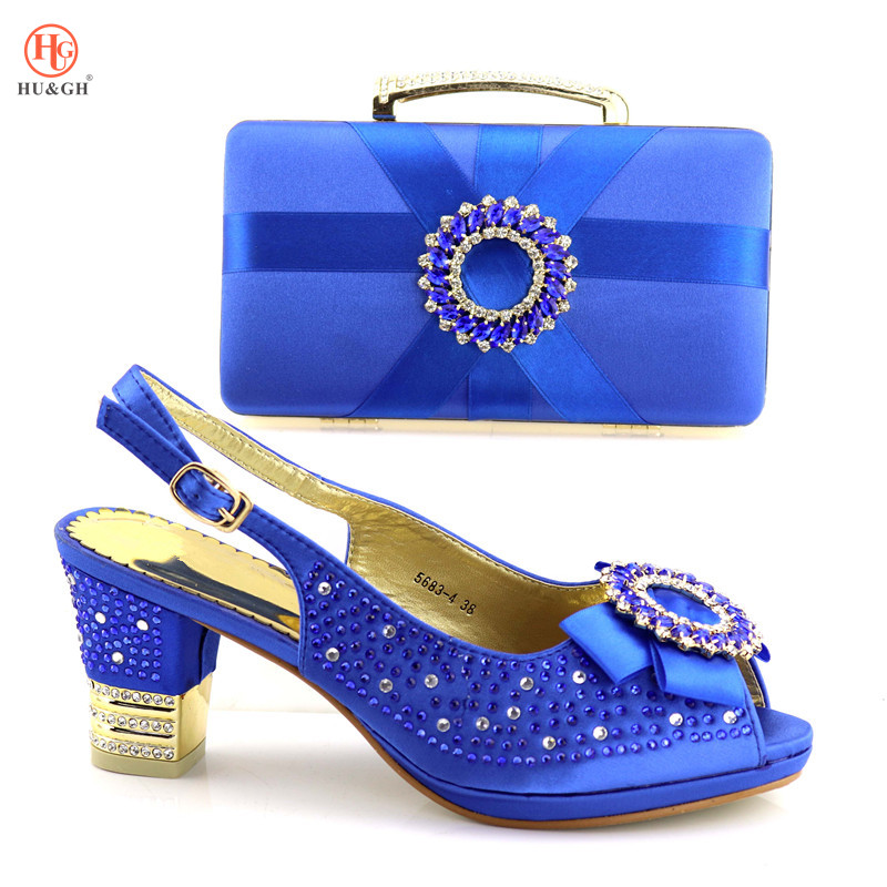 Royal Blue Matching Italian Shoe and Bag Set African Wedding Sandals Summer Italian In Women Nigerian Shoes and Matching Bags стоимость