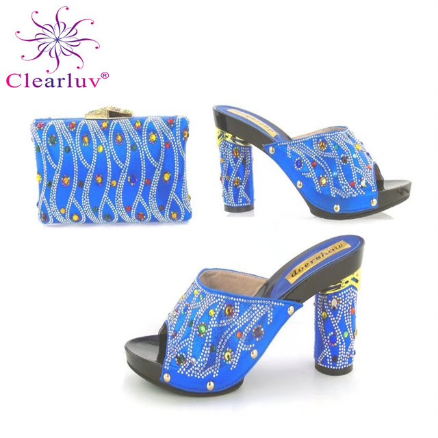 Clearluv High Quality Matching Italian Shoes And Bag Set For Evening Party  In big size r f9ff40a4c923