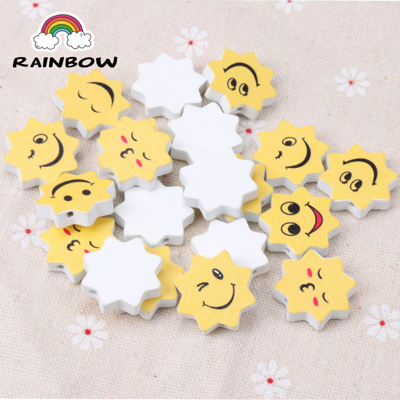 Natural Wooden Material beads Face Expression Smile Yellow Sun Shape Spacer Beads For Jewelry Making 22x12mm 20Pcs DIY