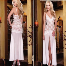 Fashion White Women's Sleepwear Lingerie Dress G-String Long Robe Underwear Female Dress Girls Clothing Red Black