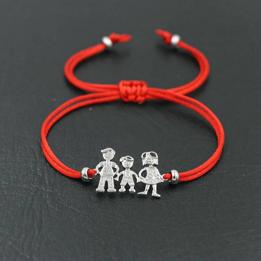 Lovely Family Dad Mun Boy Girl Bracelet Silver Color Red Rope Thread Braided Bracelets Women Men Couples Love Jewelry Gift