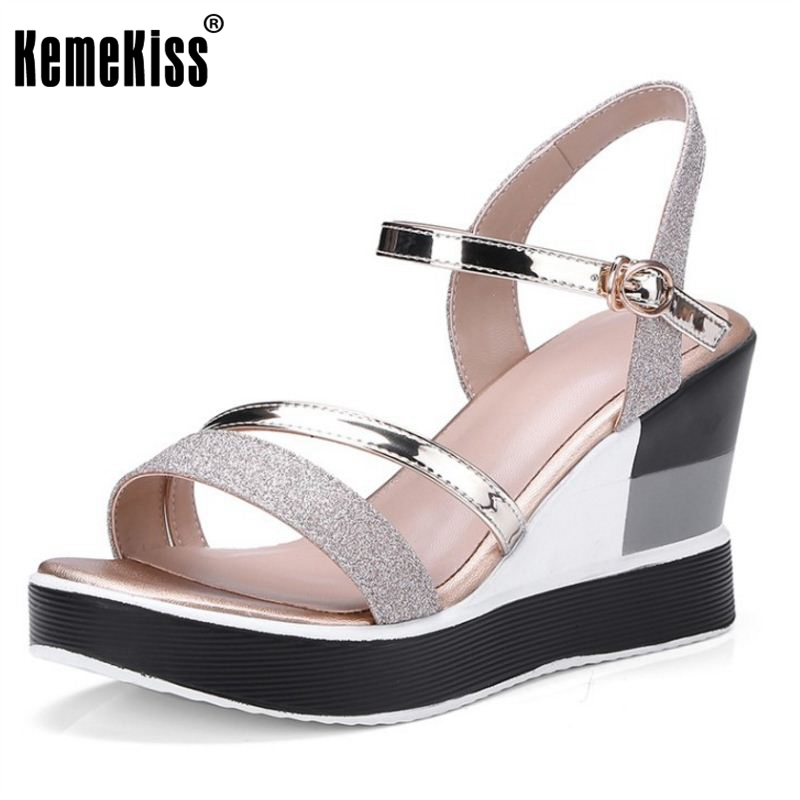 KemeKiss Ladies Buckle Strap High Heel Wedges Sandals Women Thick Platform Glitter Shoes Women Open Toe Soft Footwear Size 34-40 phyanic 2017 gladiator sandals gold silver shoes woman summer platform wedges glitters creepers casual women shoes phy3323