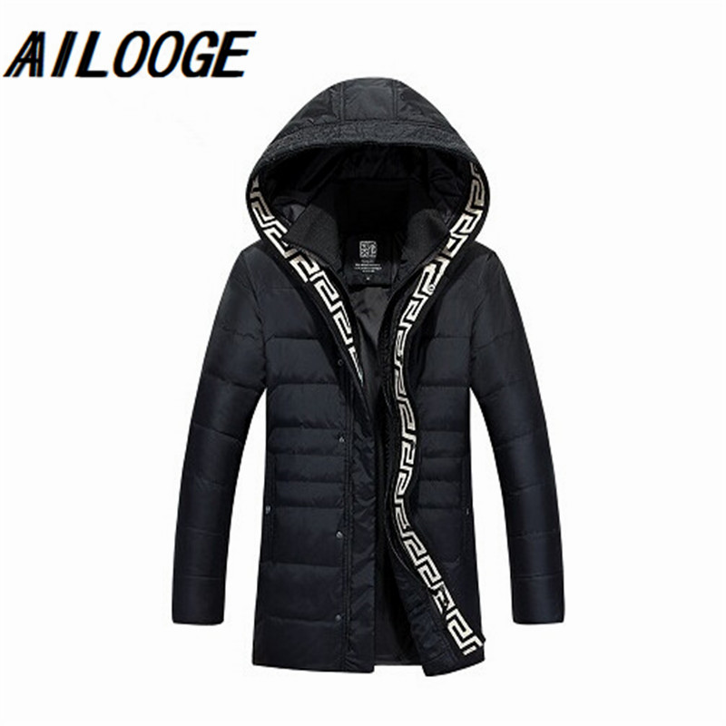 Hot sale 2016 Men Fashion White Duck   Down   Jacket WinterThick Warm Hooded Zipper long brand   Down     Coat