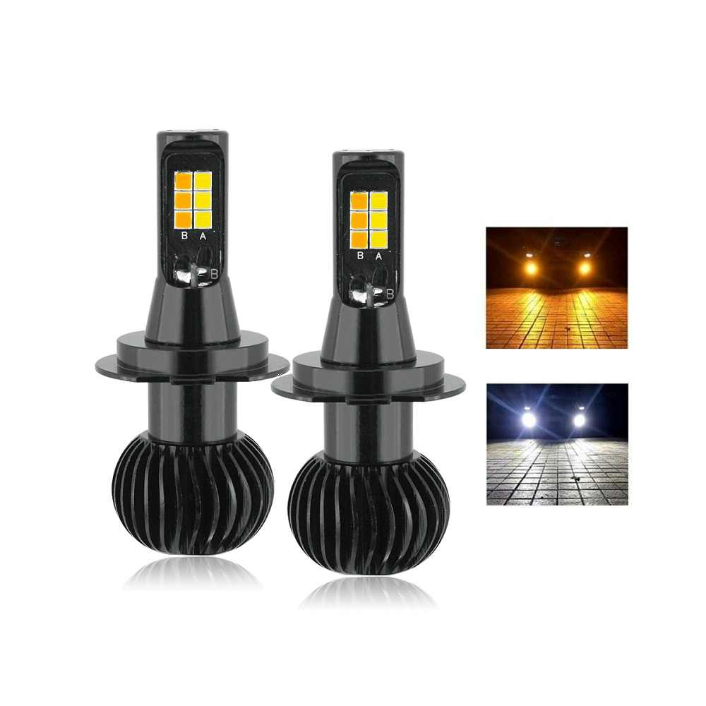 ANBLUB 2pcs LED Car Lights H1 H4 H7 H11 40W Dual Color Car Fog LightHeadlight Bulb 12V White Yellow Auto Fog Lamp DRL Lights
