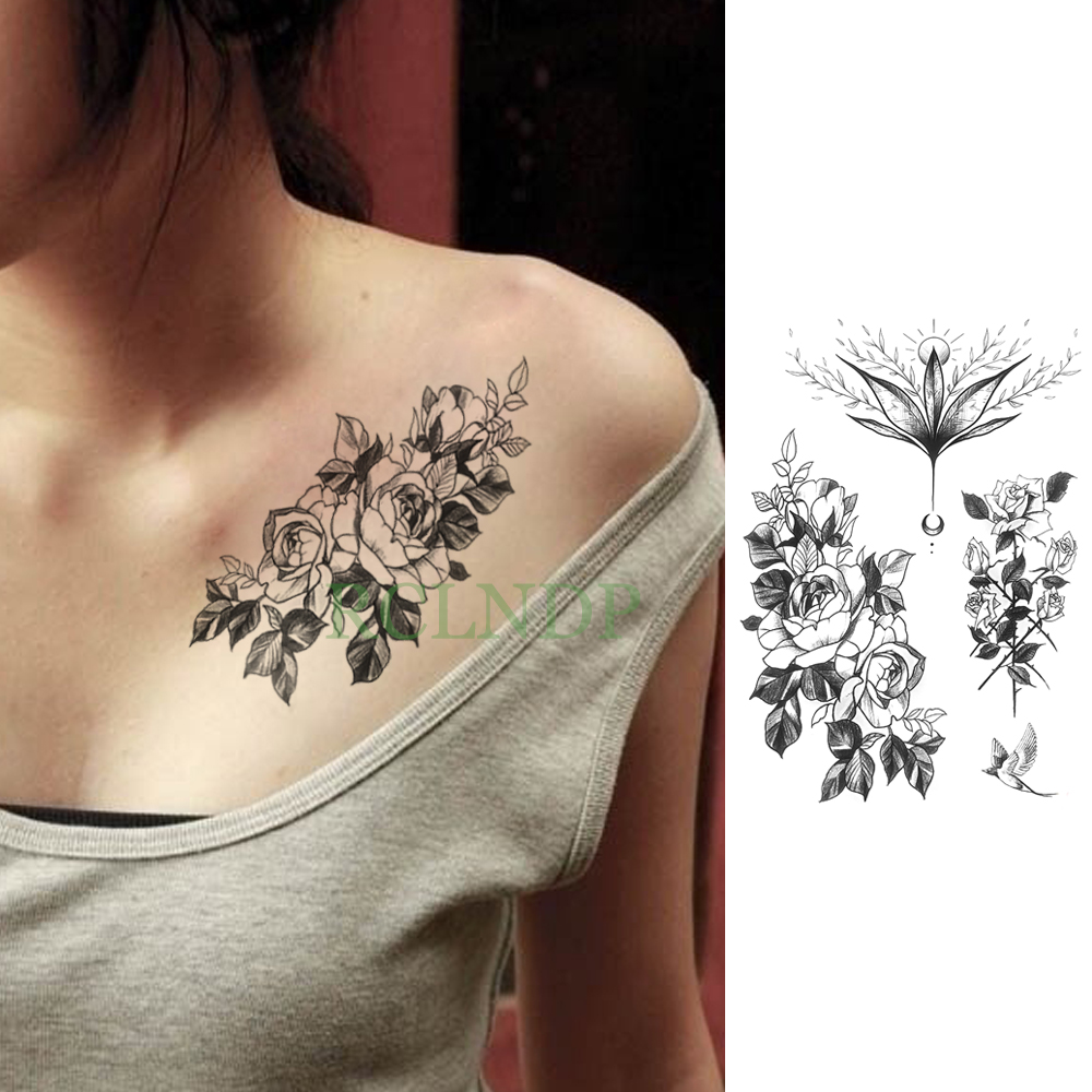 Temporary Tattoo Sticker Large Size Body Art Sketch Flower: Waterproof Temporary Tattoo Sticker Rose Flower Large Size