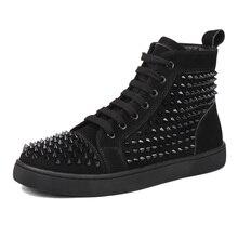 men luxury fashion nightclub banquet dresses breathable pig suede leather rivet shoes man flat platform shoe ankle boots sapatos