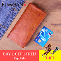 EUMOAN Genuine Leather Original Handmade Men Wallet Wrinkle Soft Mens Wallet Leather Retro zipper Long Clutch Purse Male