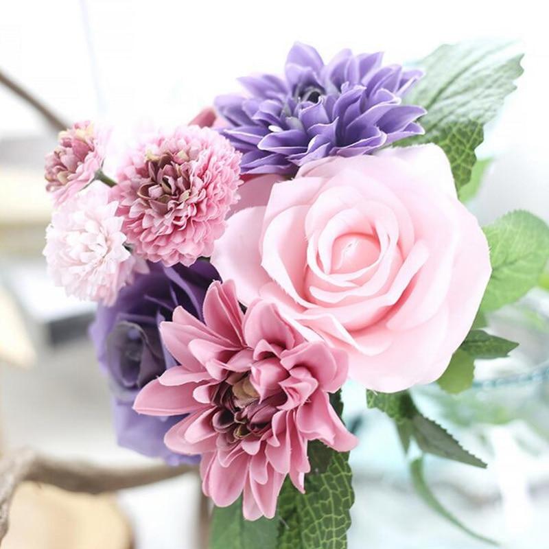 Podzimní živé čerstvé hedvábné růže dahlias Umělé květiny - Pro svátky a večírky
