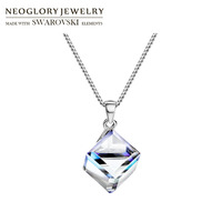 Neoglory Crystal & S925 Silver Plated Square Style Charm Necklace Allergy Free For Lady Embellished With Crystals From Swarovski