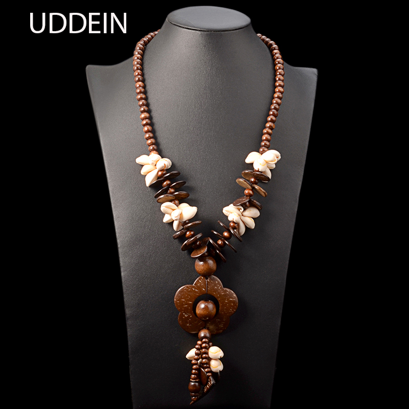 UDDEIN Bohemian Long Pendant Flower Necklace Women Wood Chain Shell Flower Statement Jewelry Wholesale Vintage Maxi Necklace