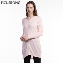 Women Causal Loose Sweater Long Sleeve Pullovers Spring Autumn Thin Solid  V-Neck Female Long Tops Sweater 2019 New FICUSRONG