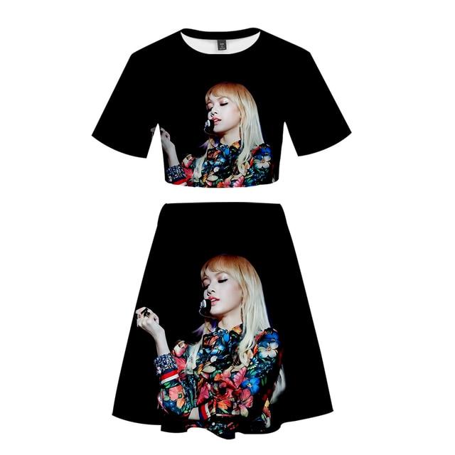 8034f6d3a 2019 negro Rosa estampado 3D fresco Casual verano moda ombligo manga corta  + Falda conjuntos calle mujeres 2 foto faldas Set