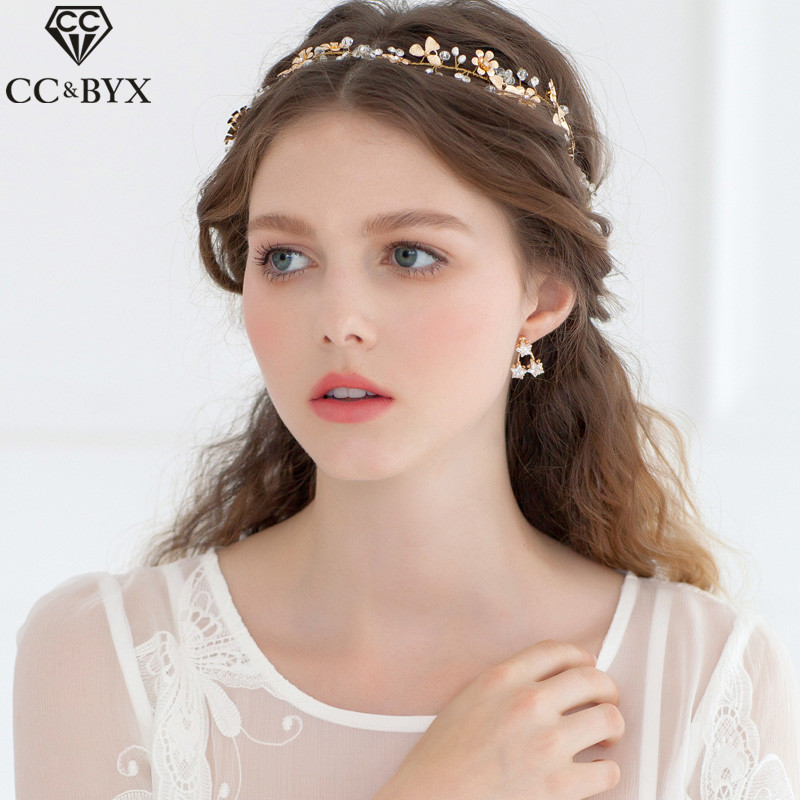 CC Jewelry Headband For Girl Bridal Crown Crystal Beads Wedding Hair Accessories Gifts For Women Gold-Color Party Bride DIY 0307
