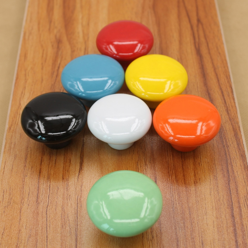 7 Colors Available Colorfast And Rustless Round Cabinet Knob Handle Ceramic Door Cupboard Drawer Kitchen Pull Home Decor pastoralism pumpkin ceramic knob kitchen ceramic door cabinets cupboard knob and handles 1pcs