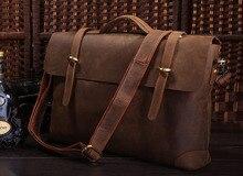 Vintage Crazy Horse Genuine Leather Men Briefcase Men Messenger Bags Cowhide 14″ Laptop Portfolio Travel Bag #MD-J7082