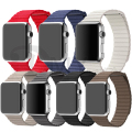 Venta caliente lazo de cuero para apple watch bandas 38mm 42mm ajustable con cierre magnético para apple watch milanese loop band