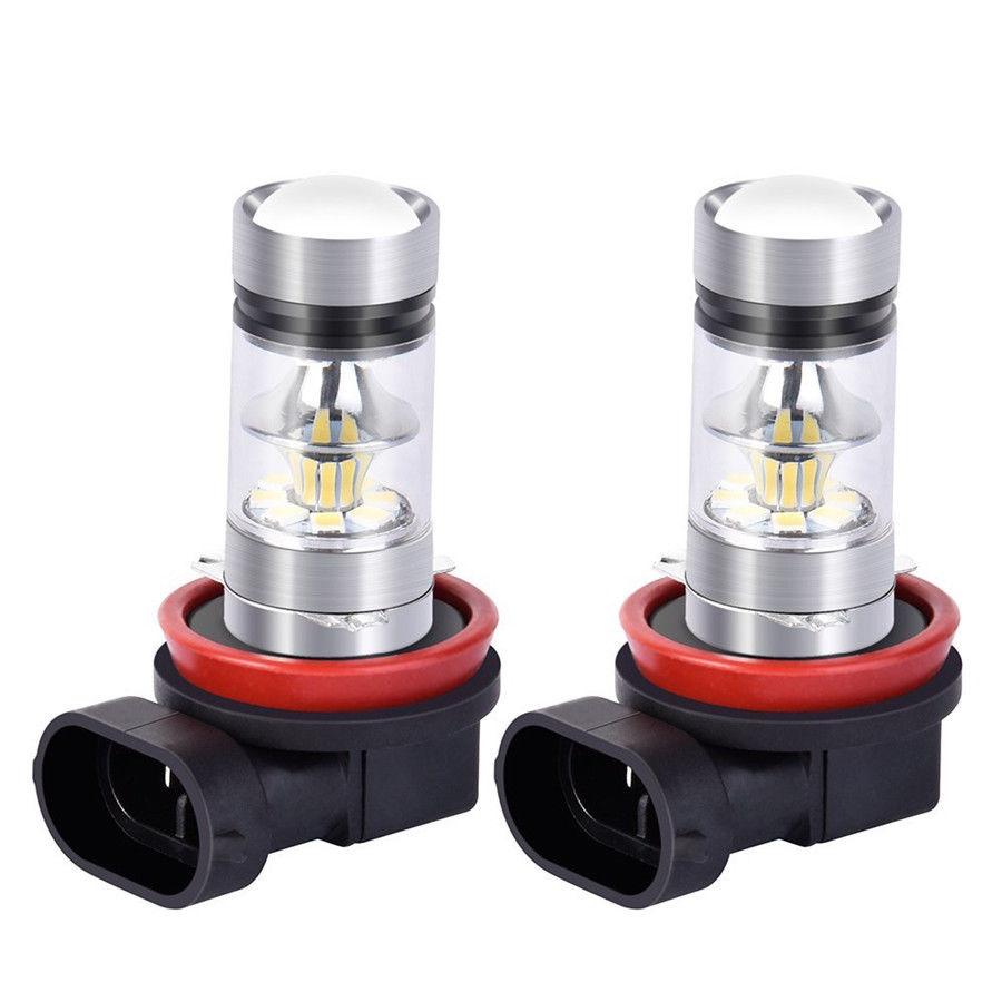 A Pair 100W H11 H8 High Power 6000K White LED Fog Light Driving Bulbs Universal