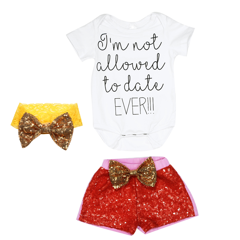 3pcs Infant Baby Girl Clothes Letter Tops Romper Sequin Pants Headband Summer Outfits Set Baby Girl Clothing Set