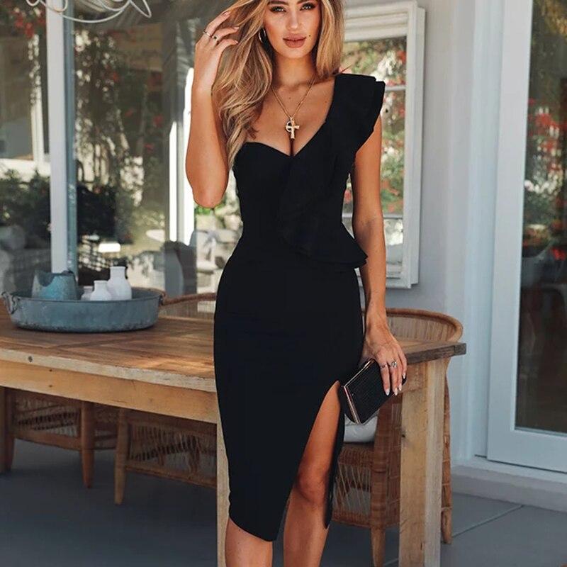 Осень женское платье одежда без рукавов знаменитости пикантные Клубные одно плечо Вечеринка повязки платья для женщин рюшами Vestidos