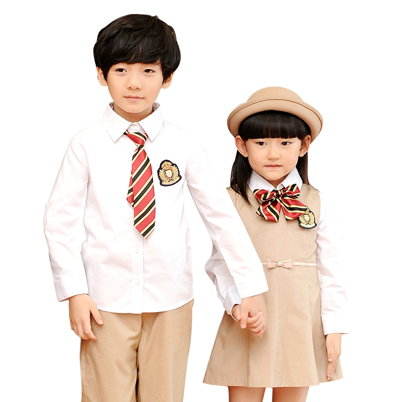 2018 New Children Cotton Korean Student School Uniforms Set Suit Girls Boys White Shirts Dress Pants Tie School Uniform 2-10T