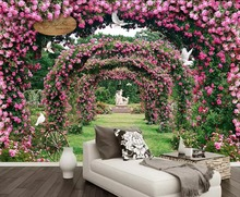 Beibehang 3d wallpaper mural rose roses back garden idyllic background living room bedroom TV wall decorative murals