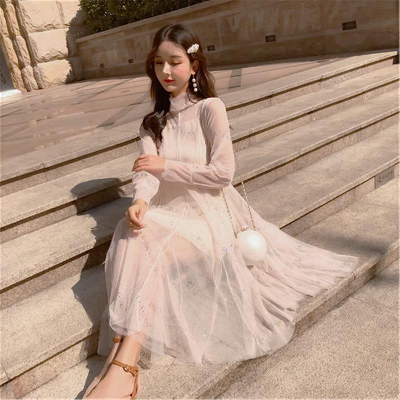 Dresses Missoov Fashion Brand Designer Womens Clothing Summer Sweet Lace Mesh Dresses Female Long Vest Lace Dress Black Vestidos New