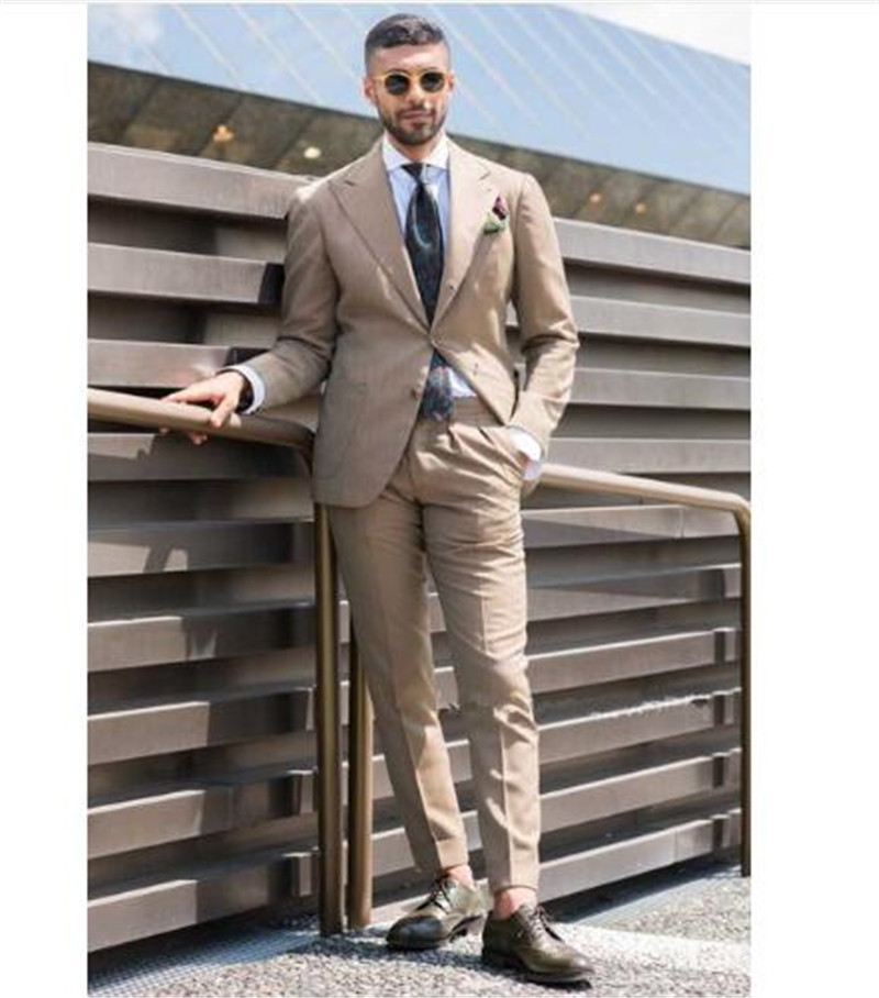 Casual Stylish Custom Made Men Suit Wedding Tuxedo Young Suits Outside Wear Vestido 2pieces (Jacket+Pants) Terno Masculino