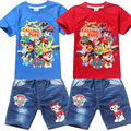 New 2017 Children Set Cartoon Dog fashion suit boys jeans sets t-shirt+pant 2pcs Kids Clothing suit H530