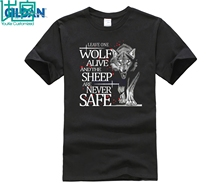 Game of Thrones Leave One Wolf Alive Arya Stark Mens Black T Shirts Short Sleeve 100% Cotton Letter Printed T-Shirts Top Tee