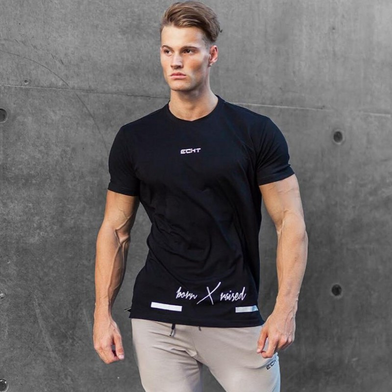 Men's Short Sleeve printing T-shirt fashion trend Cotton T-shirt Men Summer fitness Brand Shirts Solid Color Casual Male Tees