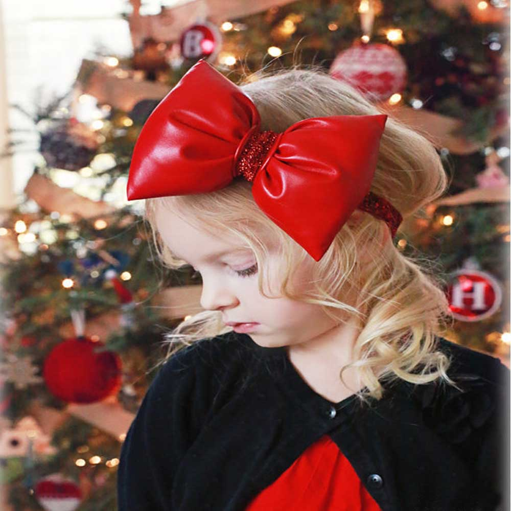 Red Big Bow Christmas Day Headband For Girls Kid Bling Stretch Knotted Hair Band Hair Accessories metting joura bohemian lace bow headband hair accessories holiday knotted bow head band girls headdress hairbands for women