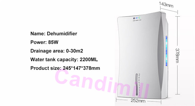 electric dehumidifier size