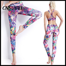 Colorful flower 360 digital print pilates compression  yoga leggings pants for women