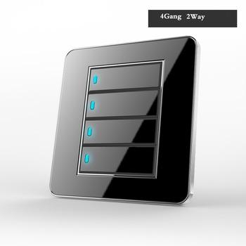 Type 86 Black mirror switch Household Wall TV Computer socket LED Light- Point switch 1 2 3 4 gang 1 2 way  EU socket USB 9
