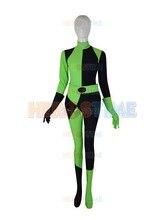 New Kim Possible Shego Costume Female Super Villain Lycra Spandex Zentai Superhero Cosplay Halloween Party Costumes Zentai Suits