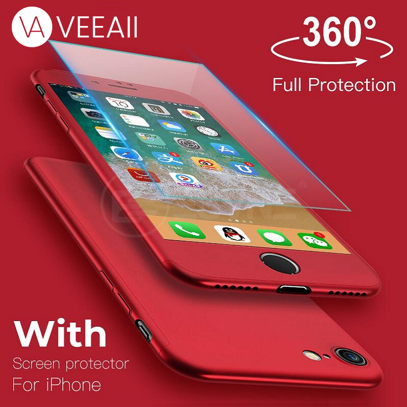 VEEAII 360 Degree Full Cover Phone Case for iPhone X XS Max XR Case with Glass for iPhone 6 6s 7 8 plus 5 5s SE Back Protective in Fitted Cases from Cellphones Telecommunications
