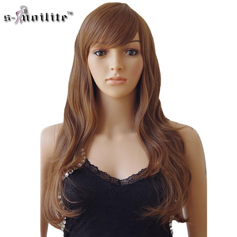 Snoilite Для женщин длинные вьющиеся Косплэй парик жаропрочных Волокно натуральный Синтетические волосы полной головки Искусственные парики Ombre вечерние для черный Для женщин