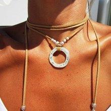 Diy usar cigano frisado círculo veludo multi-camadas envoltório colar boho jóias moda feminina na moda boêmio colares