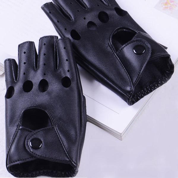 1 pair النساء أزياء بو الجلود الأسود نصف اصبع قفازات كول القلب الجوف أصابع قفازات قفازات الإناث لاستعادة لياقته # 40 3