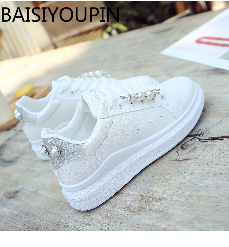 2018 New Korean Thick-soled Women Small White Shoes Sweet Beads Pearl Breathable Causal Shoe Women's Lace Up Student Board Shoes купить недорого в Москве