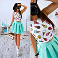 Two-piece Fashion women's vestidos sleeveless o-neck lady tops blouse+skirt party summer one-set