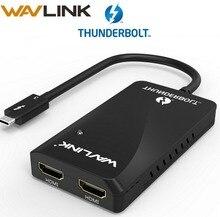 Adaptador Thunderbolt 3, adaptador de pantalla de HDMI dual, divisor tipo C, usb C hub, 40Gbps, 4K, puerto HDMI 1080P, concentrador divisor de vídeo