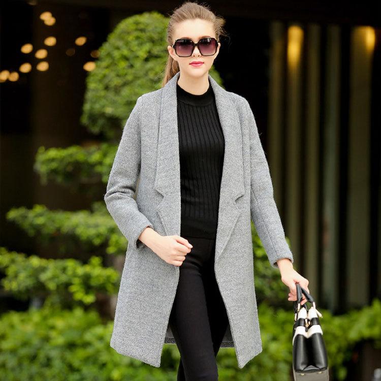 Manteau droit laine gris