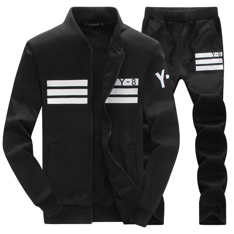 M-4XL Schweiß Herrenmode Casual Sport Anzug Männer Hoodies/Sweatshirts Sportswear Zipper Mantel + Hose Trainingsanzug Männer Marke kleidung