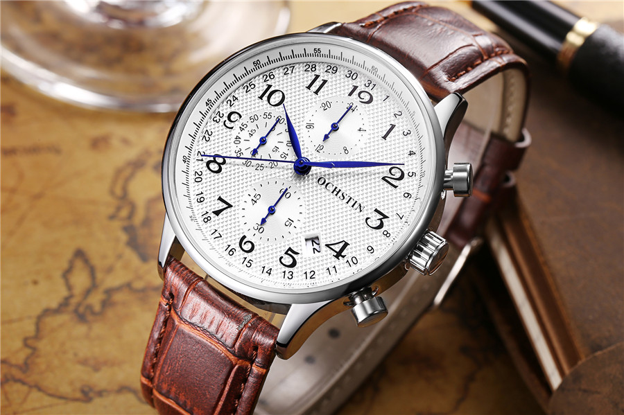 Image 5 - Rose gold case Fashion Blue pointer Chronograph Mens Watches Top Brand Luxury Quartz Watch Men Leather Waterproof Sport Watch-in Quartz Watches from Watches