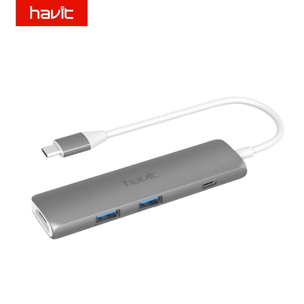 Havit USB C Hub 4K HDMI Video Output Port Type C Charging Port SuperSpeed 3.0 USB Ports Type C Hub for MacBook Pro HV-TPC78