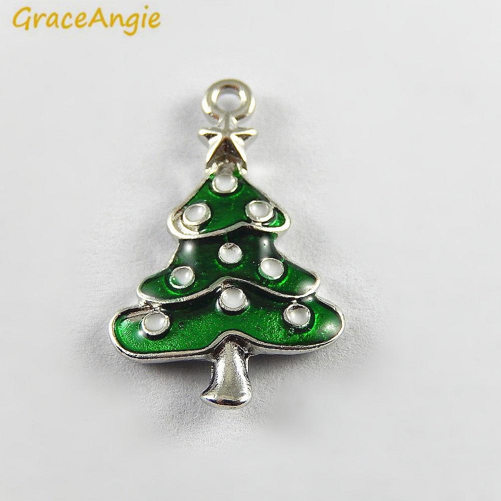 10PCS Green Enamel Small Christmas Tree Charms Wholesale Christmas ...